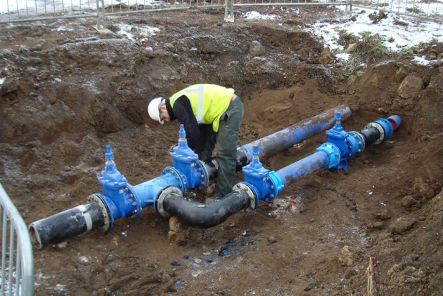 Hospital water and fire main potable water and civil for Water main pipe material